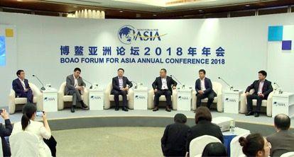 原本区块链CEO吴鹏(左三)在博鳌论坛现场