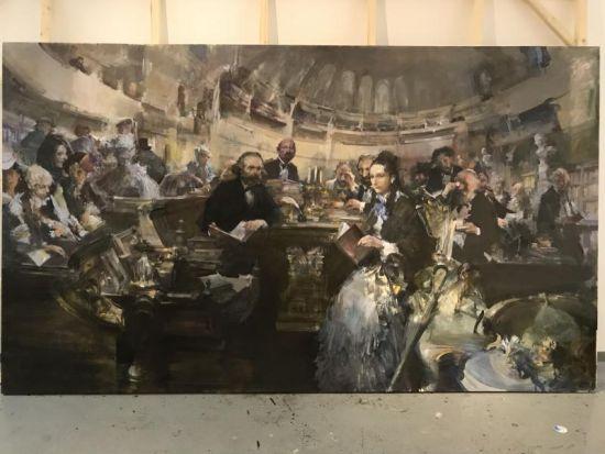 俞晓夫创作的油画作品《马克思在大英图书馆》。