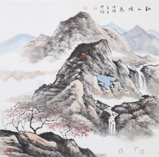 陈仲龙 秋水烟岚 68x68 2018