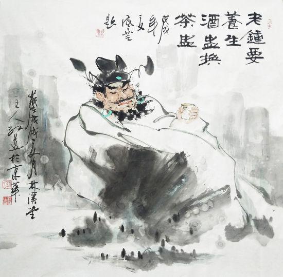 刘红选 钟馗饮茶图 68x68 2018