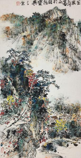 刘三余 焦墨重彩之一 67×34cm 2012年