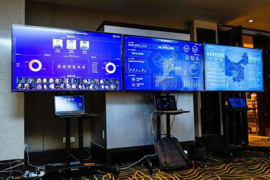 大会现场要客识别、数据资产、迈外迪运营驾驶舱大屏展示。