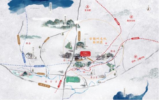 图:绿城・黄山桃李春风项目区位图。