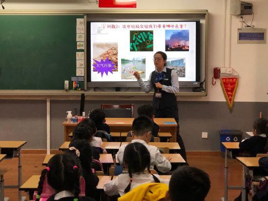 图:走进虹口区复兴实验小学为学生讲解垃圾分类。