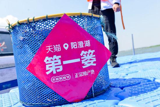 图:连续多年,阳澄湖大闸蟹第一篓花落天猫。