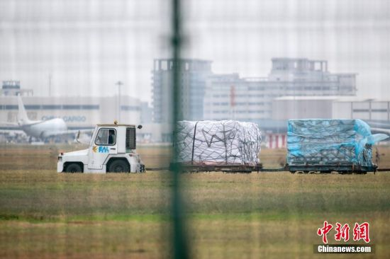 11月23日,上海浦东国际机场货运停机坪上,货物运输秩序井然。张亨伟 摄