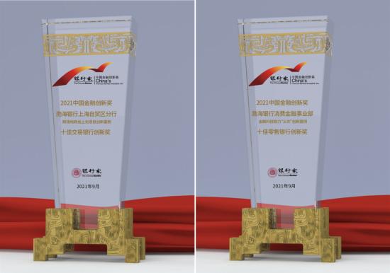 图:渤海银行荣获奖项。